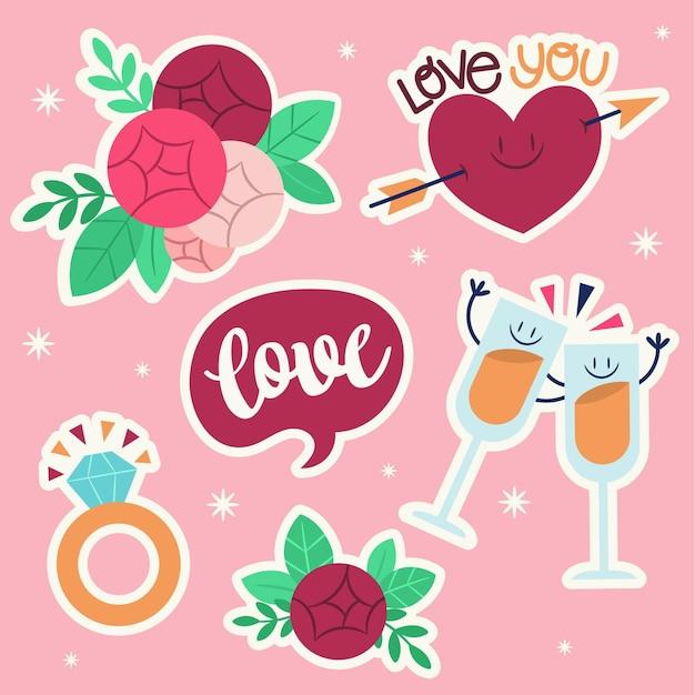 Коллекция плоских свадебных наклеек Бесплатные векторы