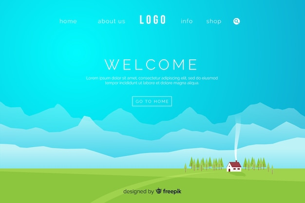 Flat welcome landing page template Free Vector