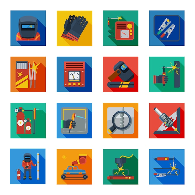Flat welding icons in colorful squares Free Vector