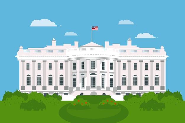 Illustrazione di casa bianca piatta Vettore gratuito