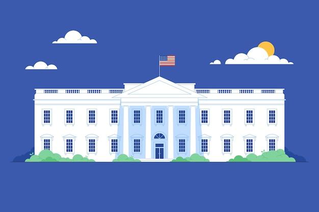 Flat white house illustration Free Vector