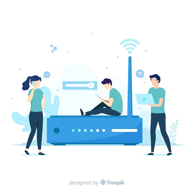 Flat wifi zone concept with signal Free Vector