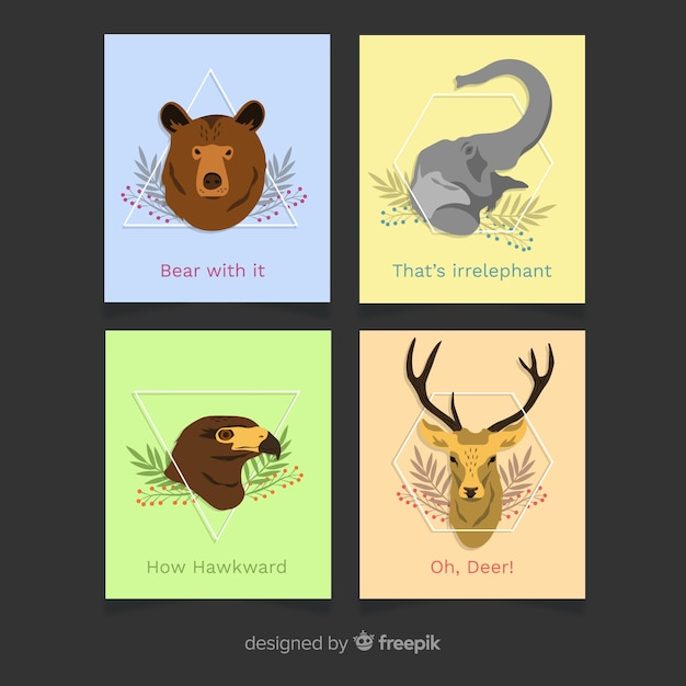 Flat wild animal card collection Free Vector