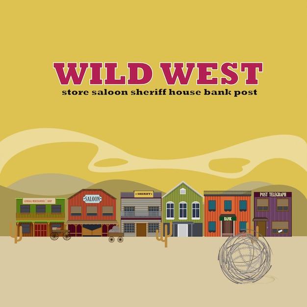 Sfondo di paesaggio piatto wild west street Vettore gratuito