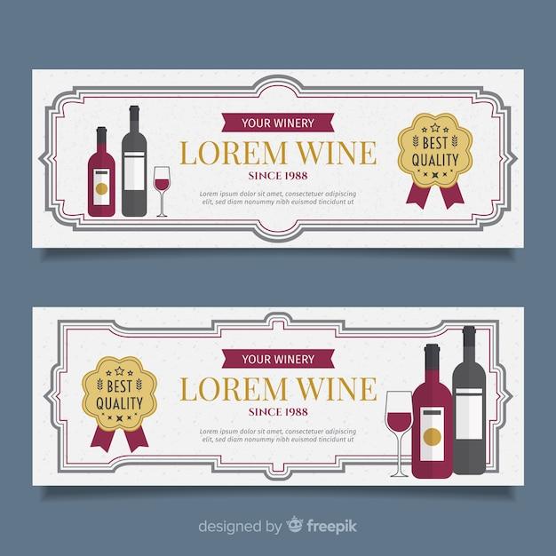 Flat wine banner Free Vector