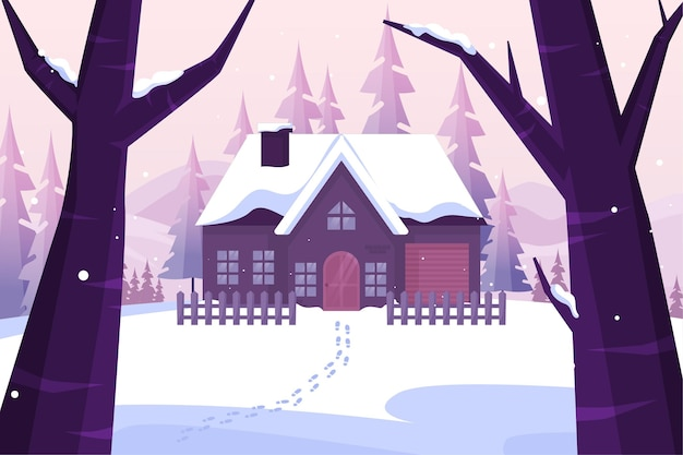 Flat winter background Free Vector