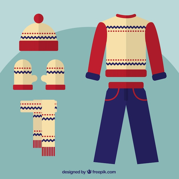 Flat  winter clothes collection