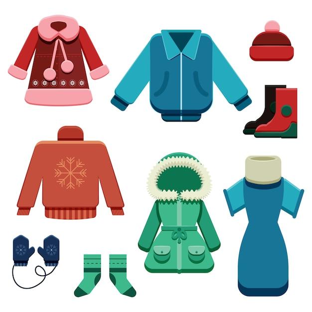 Set di vestiti e accessori invernali piatti Vettore gratuito