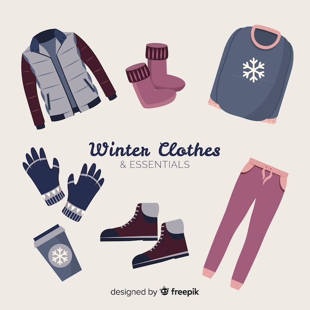 Flat winter clothes and essentials Free Vector