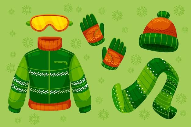 Vestiti invernali piatti ed essenziali Vettore gratuito