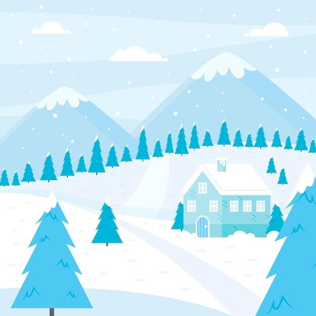 Плоский зимний пейзаж иллюстрация Бесплатные векторы