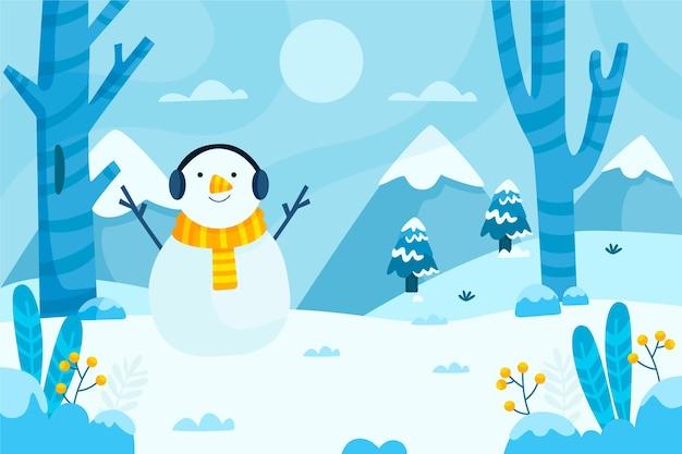평평한 겨울 풍경 그림 무료 벡터