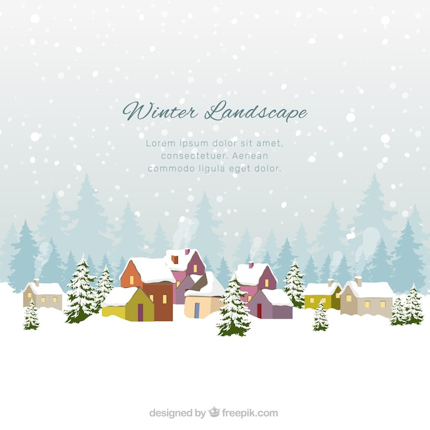 Flat winter landscape with colorful houses Free Vector