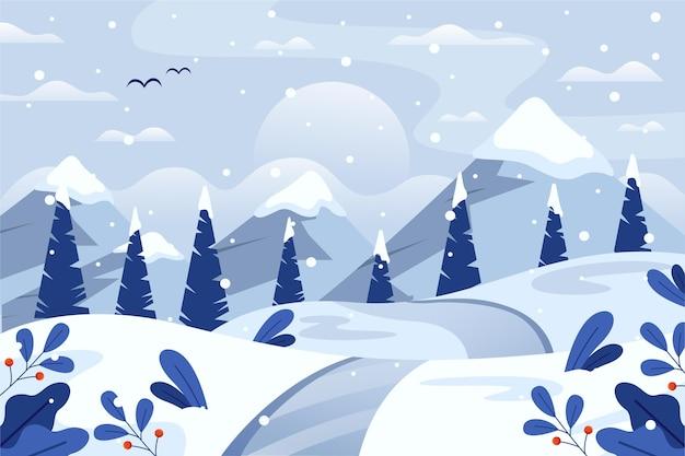 森のある平らな冬の風景 Premiumベクター