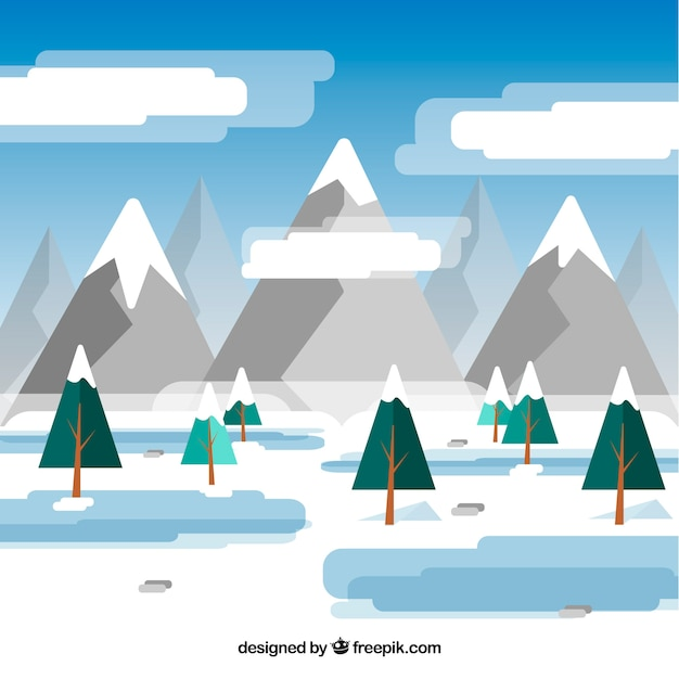 Flat winter landscape with mountains and\ pines