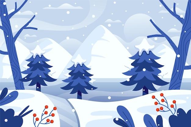 나무와 평평한 겨울 풍경 프리미엄 벡터