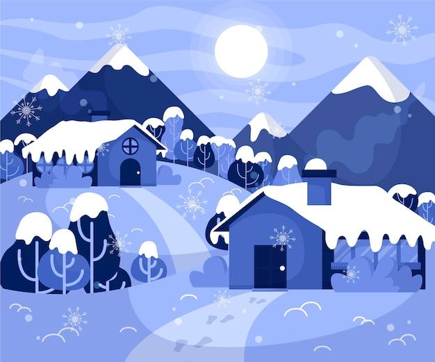 평평한 겨울 풍경 무료 벡터