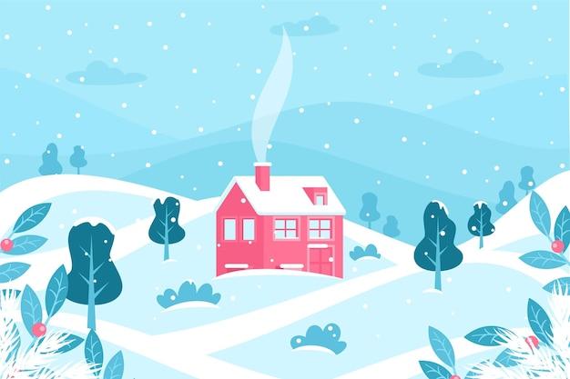 平らな冬の風景 無料ベクター
