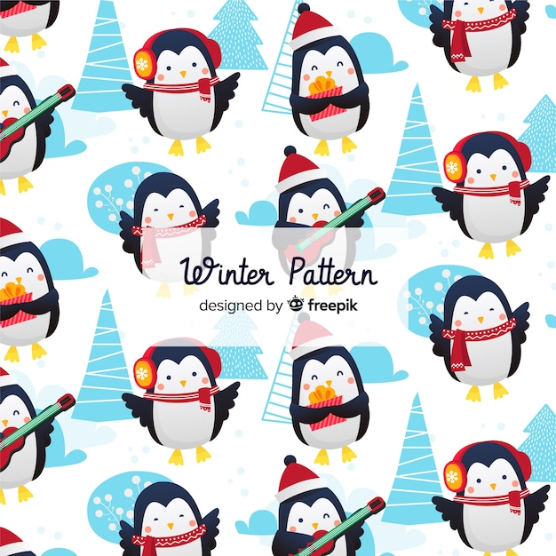 Flat winter pattern collection Free Vector