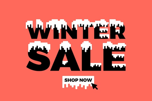 Flat winter sale background Free Vector