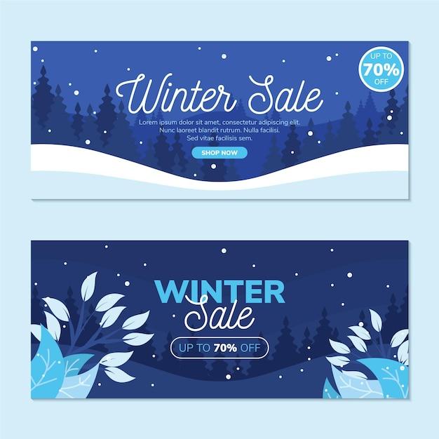 Set di banner di vendita invernale piatto Vettore gratuito