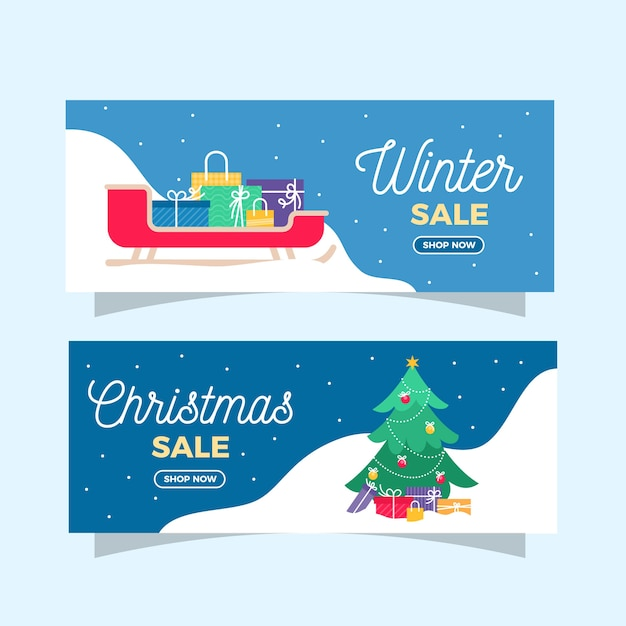 Flat winter sale banners with gift boxes and christmas tree Free Vector