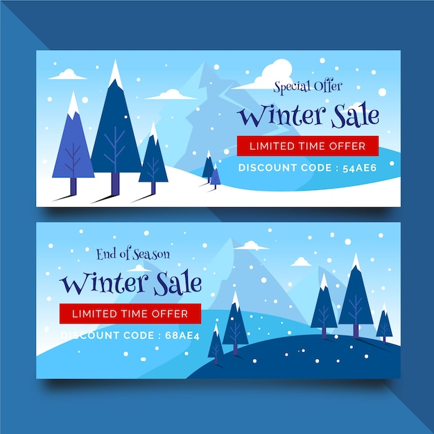 Flat winter sale banners with snow and trees Free Vector