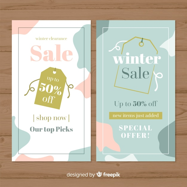 Flat winter sale banners Free Vector
