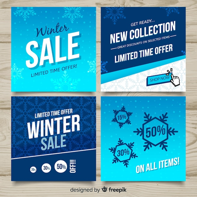 Flat winter sale cards set Free Vector