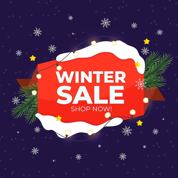 Flat winter sale with string lights and pine leaves Free Vector
