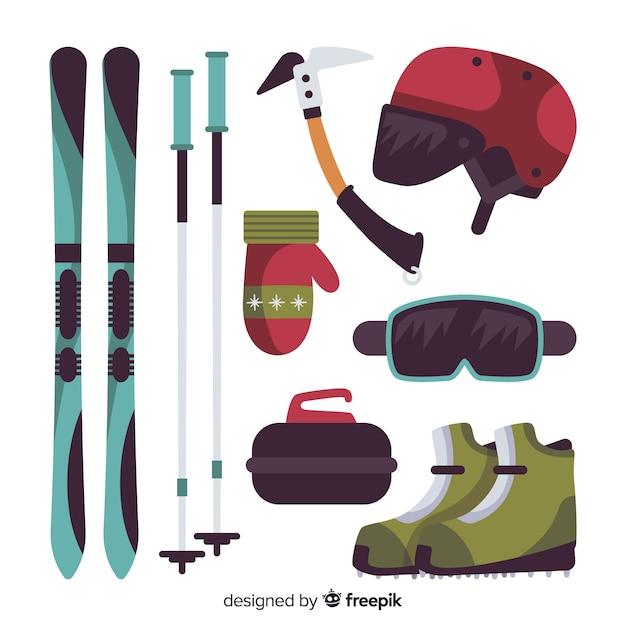 Flat winter sport equipment Free Vector