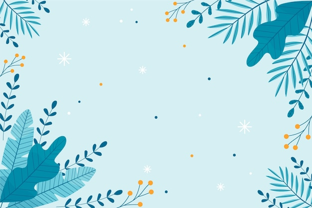 植物と平らな冬の壁紙 Premiumベクター