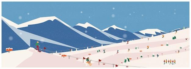 Широкий панорамный вид зимних приключений, альп, елей, подъемника, гор альпинистское приключение. концепция деятельности flat.winter, векторные иллюстрации. Premium векторы