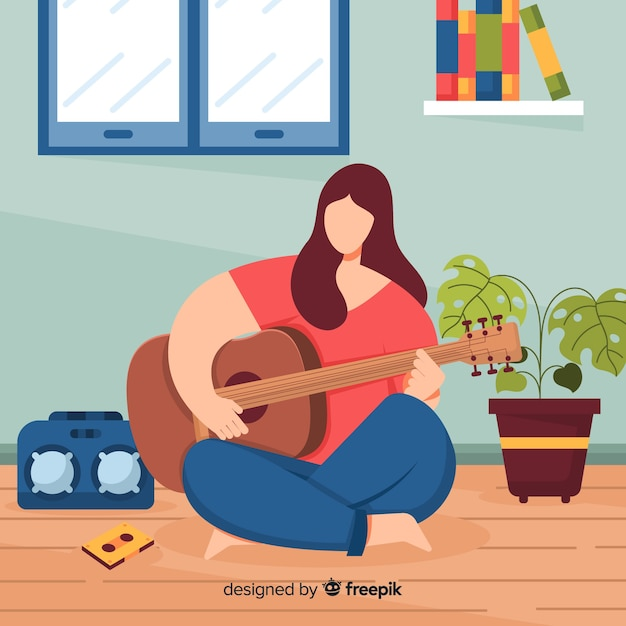 Flat woman playing the guitar Free Vector