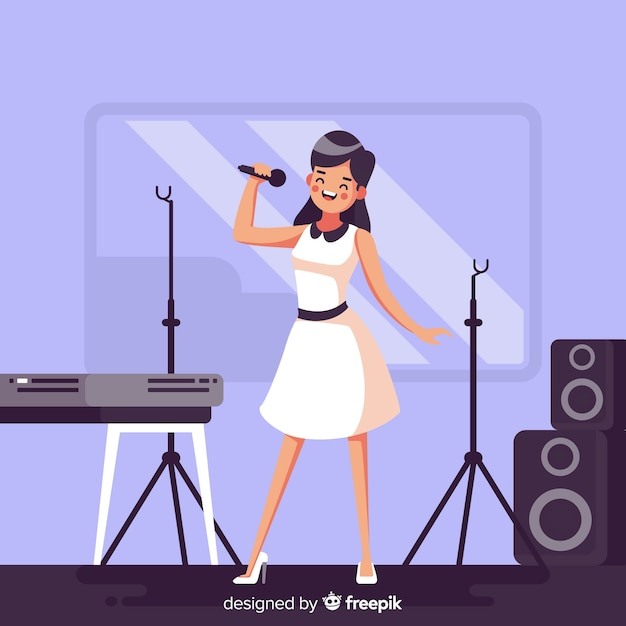 Flat woman practicing with a microphone Free Vector