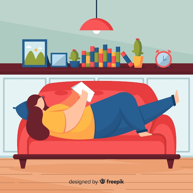 Flat woman reading on the sofa Free Vector