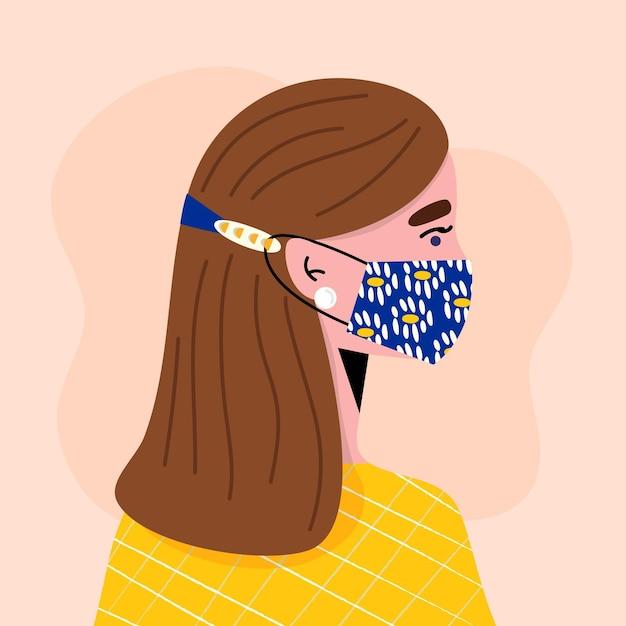 Donna piatta che indossa un cinturino regolabile per maschera medica Vettore gratuito