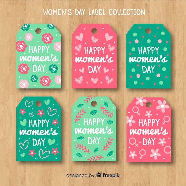 Flat women's day badge collection Free Vector
