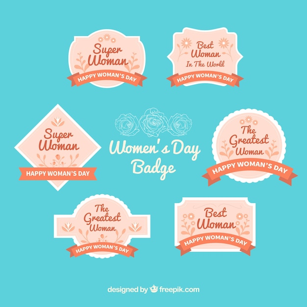 Flat women's day label/badge collection