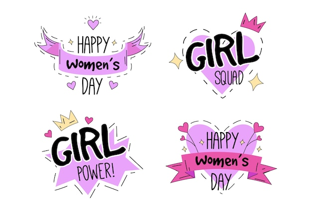 Flat women's day label collection Free Vector