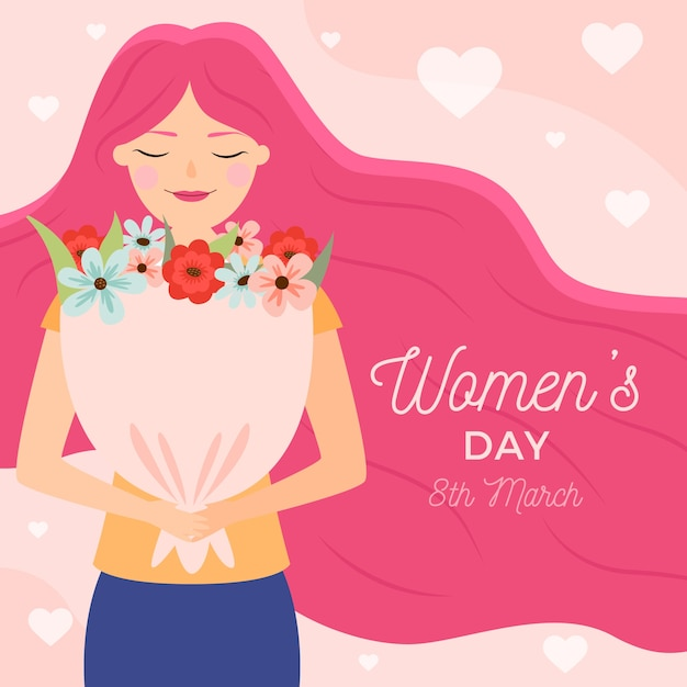 Flat women's day with woman holding a bouquet Free Vector