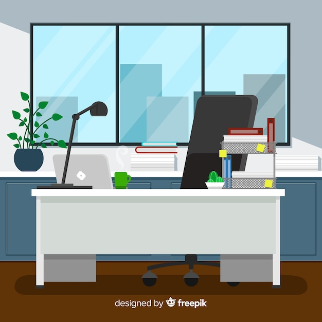 Flat workspace concept with desk and chair Free Vector