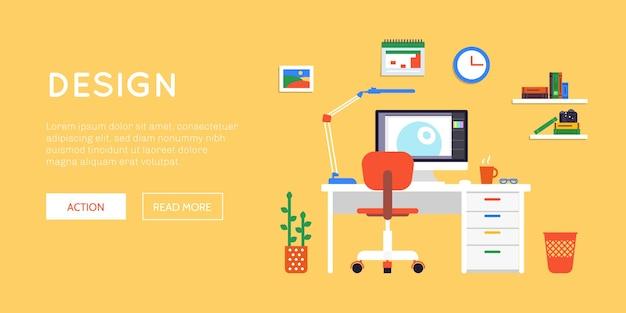 Плоское рабочее пространство веб-баннер сайта Бесплатные векторы