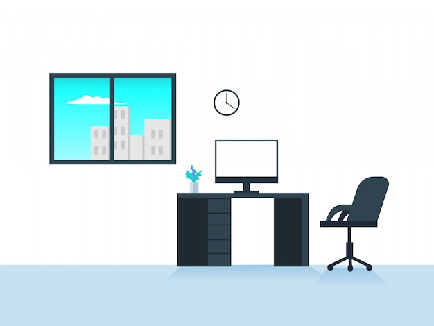 Flat workspace vector illustration Premium Vector
