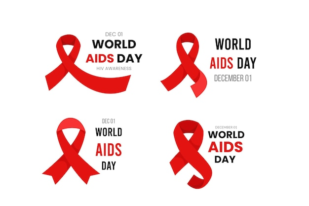 Flat world aids day badges pack Free Vector