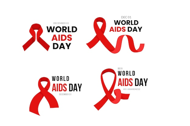 Flat world aids day badges Free Vector
