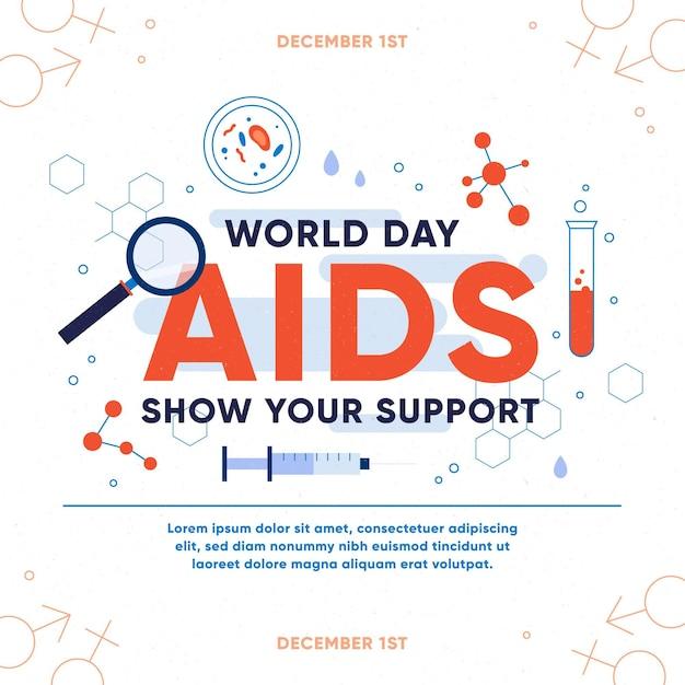 평평한 세계 에이즈의 날-개념 무료 벡터