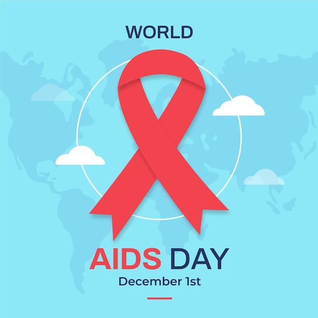 Flat world aids day illustrated ribbon on light world map Free Vector