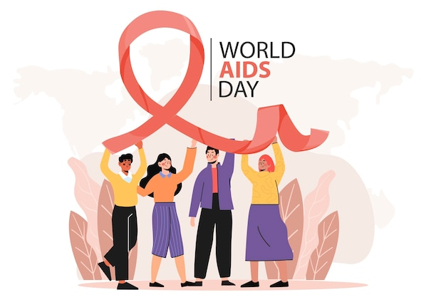 Flat world aids day illustration Premium Vector