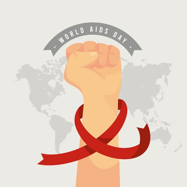 Flat world aids day illustration Free Vector